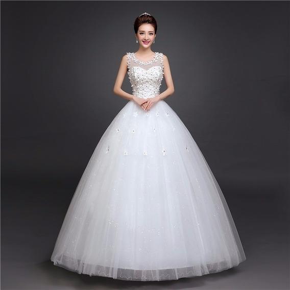 Vestido Novia Económico Corte Princesa Estilo Coreano Flores