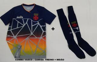 Combo Camisa Vasco Treino Oficial Diadora 2018 2019 + Meiao