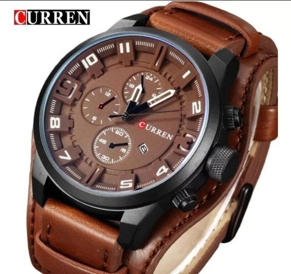 Relógio Importado Sportivo Curren 8225 Marrom Couro Top Luxo
