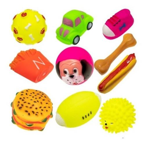 7 Brinquedos Pet Borracha Mordedor Sonoro Cachorro Cão + Nf