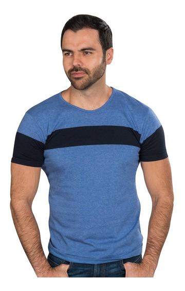 Playeras Hombre Casuales Moda Estampadas Azul A90155