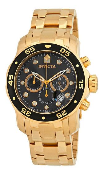 Relógio Invicta 80064 Pro Diver Dourado Original Visor Preto