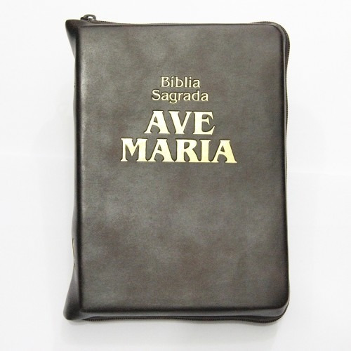 Bíblia Sagrada Ave Maria Marrom Zíper Grande 19 X 14 Cm