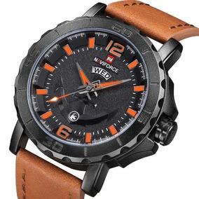 Relógio Naviforce 9122 Couro Laranja Original Frete Grátis
