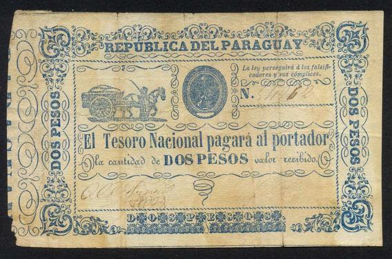 Guardia Imperial - Paraguay 2 Pesos Tesoro Nacional No Datado (1865)