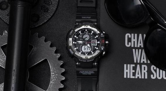 Relógio Smael S-shock Luxo Masculino Esportivo Preto/prata