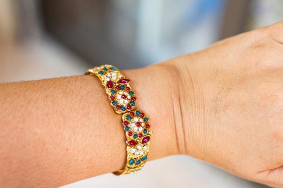 Bracelete Dourado Importado Da India Abertura Frontal