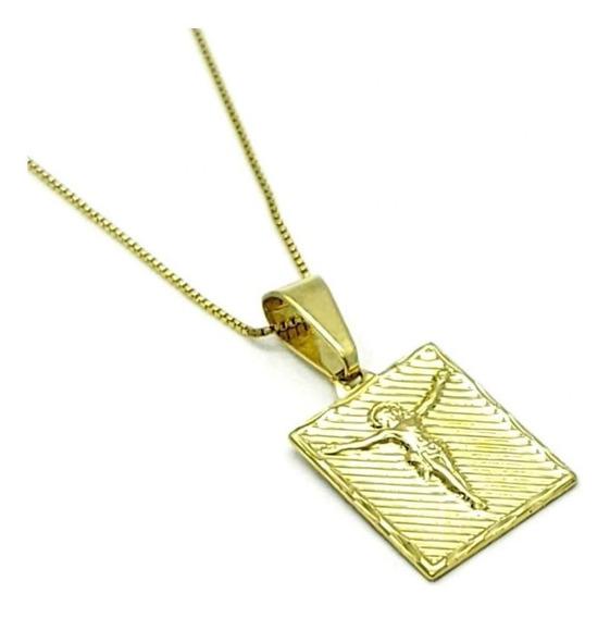 Cordão Com Pingente Medalha Crucifixo Banhado Em Ouro 18k 501