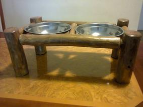 Comedouro Bebedouro Cachorro, Gato - Madeira Rustica - 25 Cm