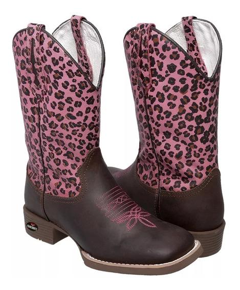 Bota Texana Feminina Animal Print Comitiva 2020 Rosa