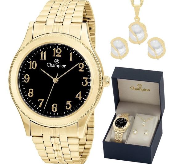 Relógio Champion Analógico Ch22126k Feminino + Semijóia