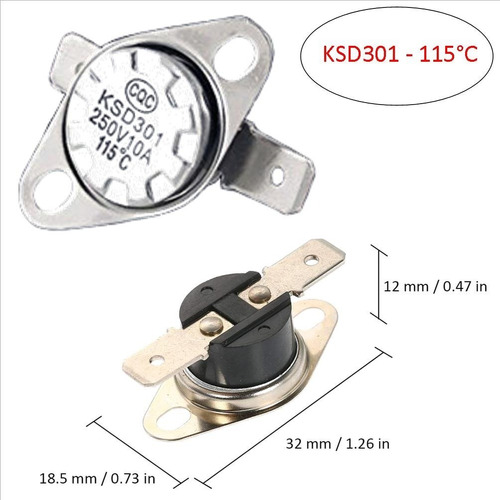 Termostato Térmico 115°c- Ksd301 - 110 - 250v - 10a