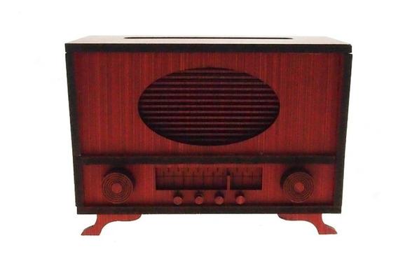 Radio Retro Decorativo Miniatura Vermelho Em Mdf 10x6x14cm