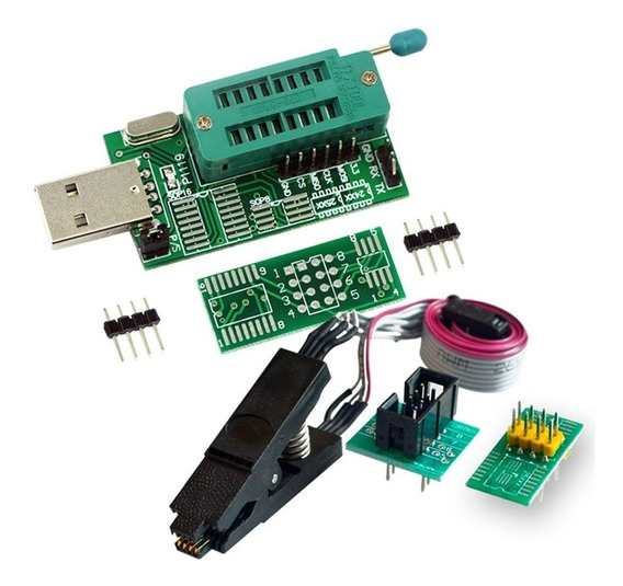 Programador Usb Ch 341 A + Pinza + Cable + Adapt Soic8 200m