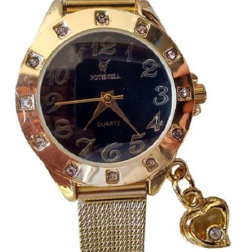Relógio Feminino Dourado Potenzia Resistente Barato Pequeno