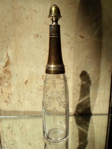Antiguo Botellón Tallado Birola Bronce Art Nouveau