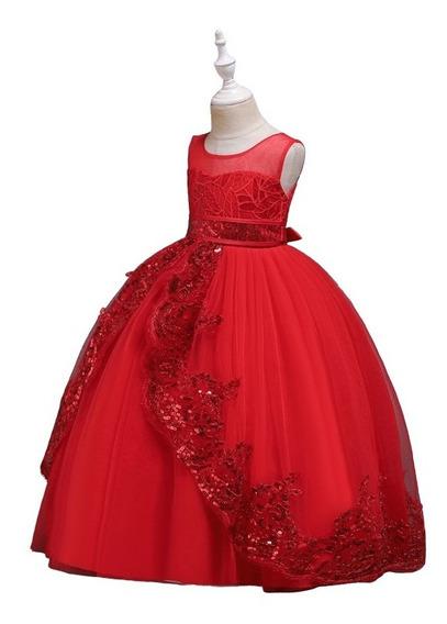 Vestido Niña Fiesta Elegante, / /rojo Lentejuela
