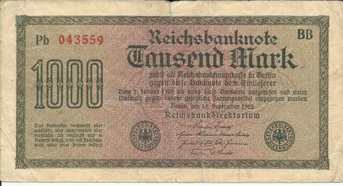 Imagen 1 de 2 de Alemania 1000 Marcos 1922