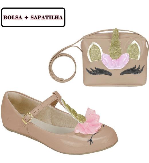 Kit Bolsa Sapatilha Infantil Feminina Unicórnio Moda 404169