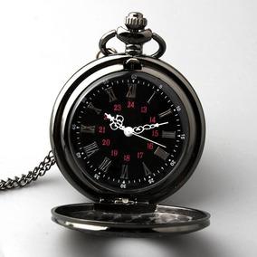 Relógio De Bolso Black Steampunk Retro Vintage Deluxe Preto