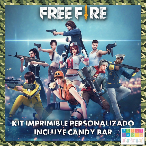 Free Fire Kit Imprimible Personalizado Incluye Candy Bar