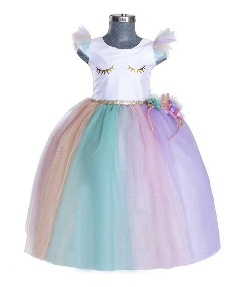 Vestido Para Niña Unicornio Fiesta Cumpleaños Disfraz