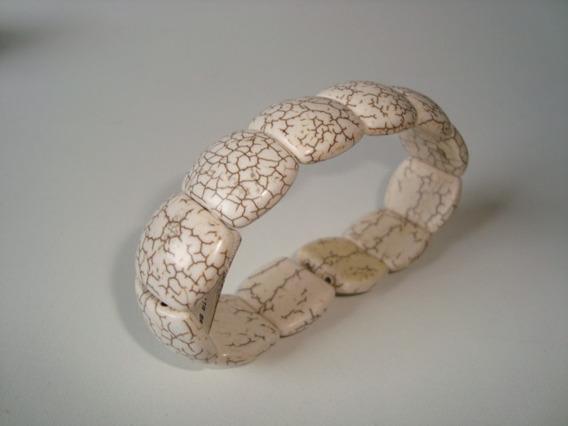 Pulseira Elástica Pedra Natural Howlita Branca Formatada 2