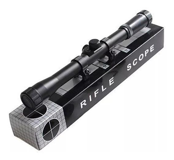 Luneta Riflescope 4x20mm Com Suportes Para Trilho 11mm