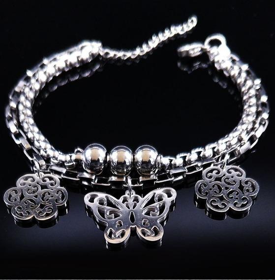 Pulseira Bracelete Feminino Aço Inox Com Ajuste E Pingentes