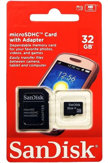 Cartão Micro Sd Sandisk 32gb Celular Samsung Xiaomi Motorola