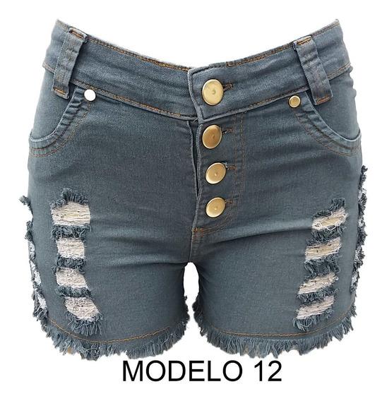 Short Jeans Feminino Cintura Alta Hot Pants Com Lycra