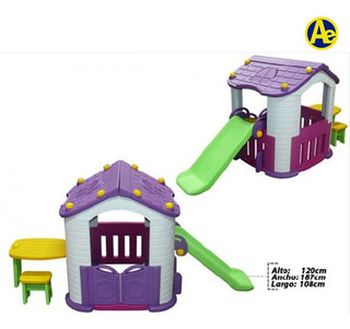 Casa Infantil Morado Con Resbaladera Medidas 165x193x119