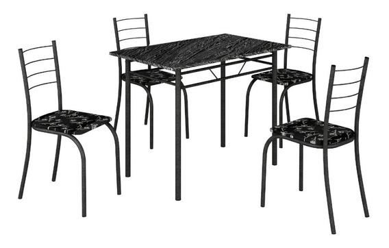 Conjunto Mesa Com 4 Cadeiras Para Cozinha Preto Martelado