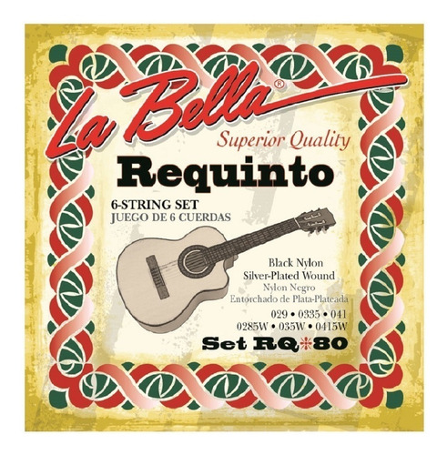 Encordado La Bella Rq80 Requinto Set De 6 Cuerdas De Calidad