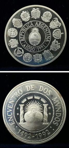 Moneda De Plata Argentina Encuentro De Dos Mundos Año 1991