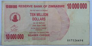 Cédula Zimbabwe 10000000 De Dólares