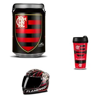 Cooler Térmico Cerveja Kit Flamengo Copo Mini Capacete