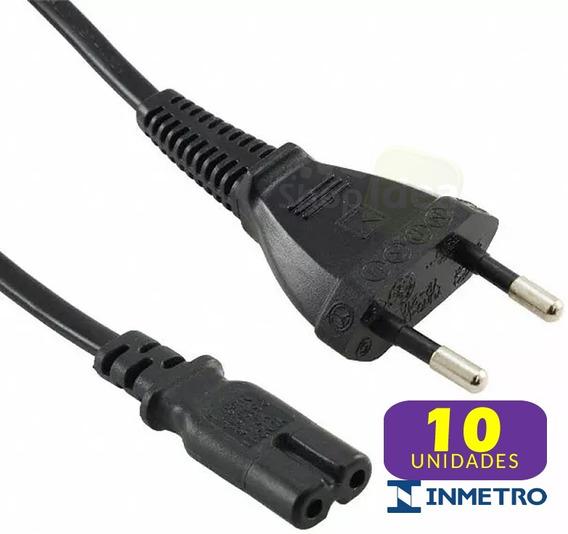 Kit 10 Cabo De Força Inmetro Bipolar Tv Monitor Radio 80cm