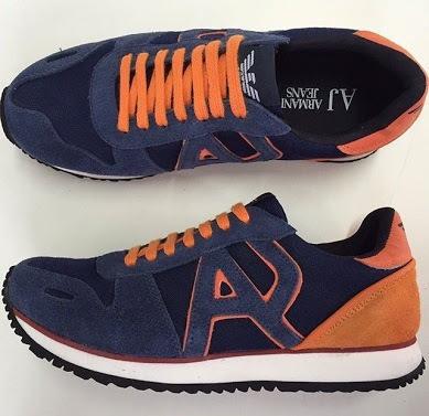 Tênis Armani Jeans Azul E Laranja