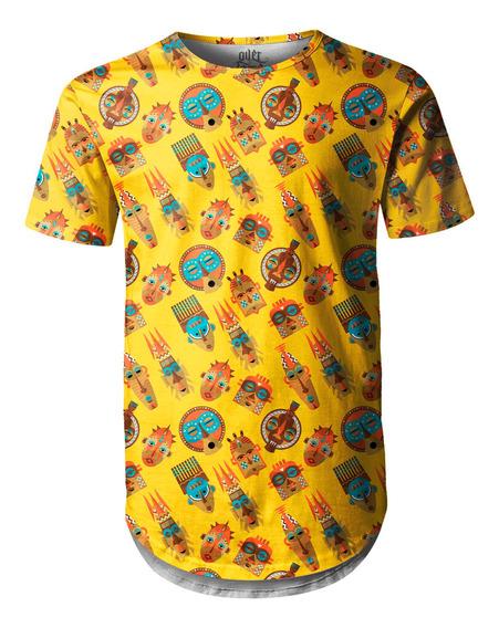 Camiseta Masculina Longline Swag Tribos Africanas