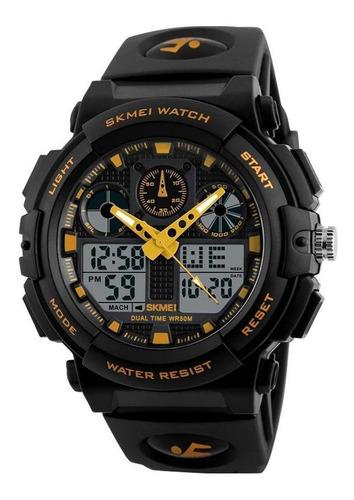 Skmei 1270 Relógio Masculino Preto E Amarelo Alarme Garantia
