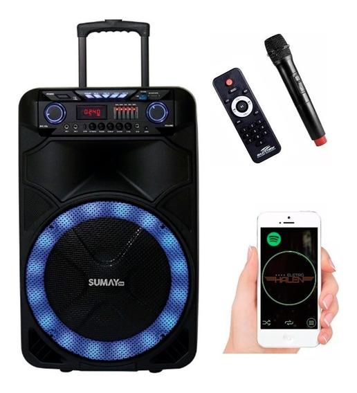 Caixa De Som Amplificada Sumay Bluetooth Bivolt Usb Microfone 1000w Rms P10 Lançamento