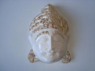 Máscara Madeira Entalhada Divindade Hindu Indiana Buda 1