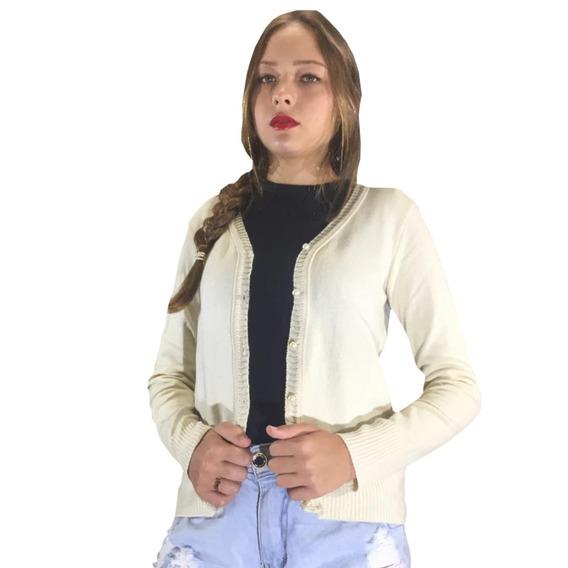 Corta Vento De Lã Casaco Feminino Básico Tricot Oferta Trico