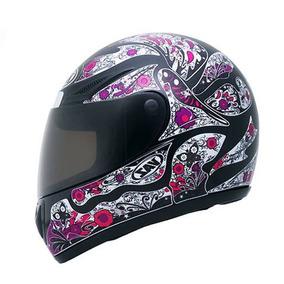Capacete Moto Vaz V10 Femme Feminino Preto E Rosa