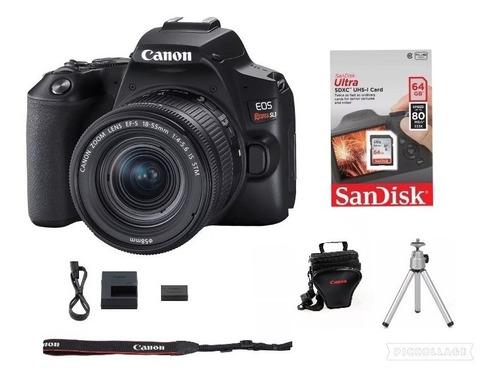 Câmera Canon Eos Rebel Sl3 C/ 18-55mm +64 Gsd+bolsa+tripé