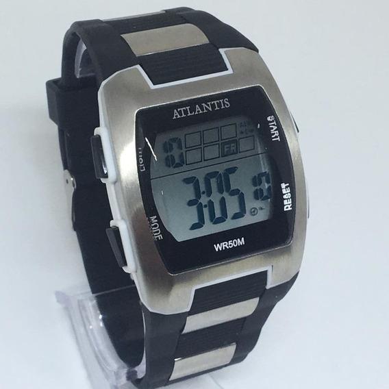 Relógio Atlantis Quadrado Prata+caixa