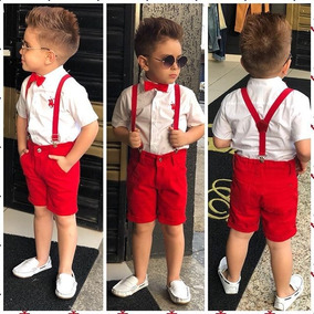 Roupa Infantil Camisa Social Bermuda Kit Suspensório