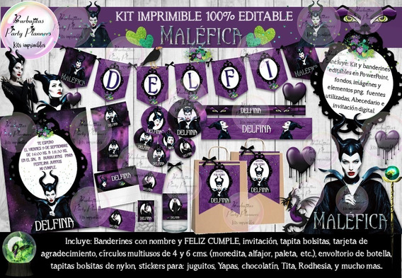 Kit Imprimible Candy Bar Malefica 100% Editable