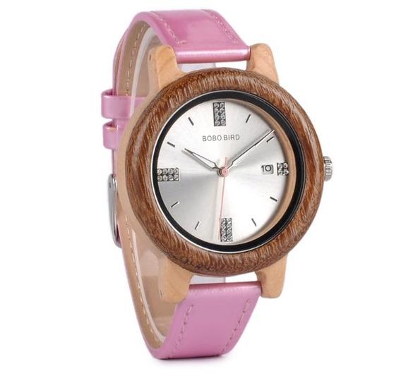 Relógio Feminino Bambu Madeira Analógico Bobo Bird P29a Pink